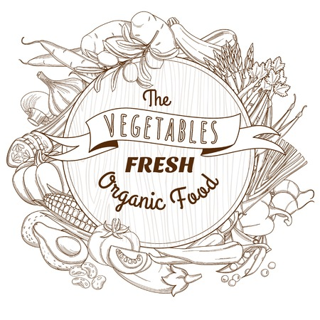 eat healthy: Vector illustration Outline hand drawn sketch vegetable wooden frame flat style, thin  line