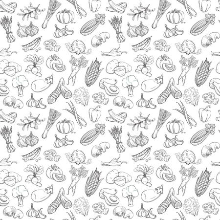 Outline hand drawn vegetable pattern flat style, thin  line