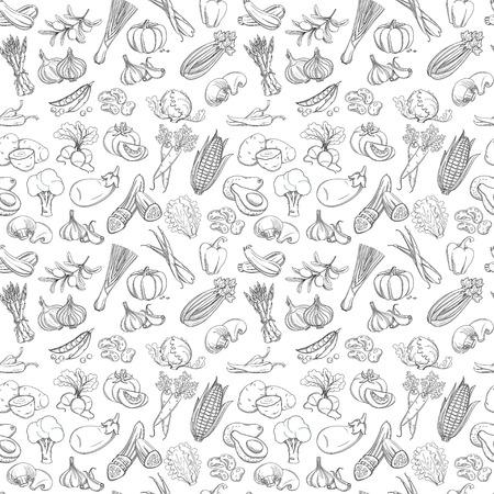 Schets hand getekende plantaardige patroon vlakke stijl, dunne lijn Stock Illustratie