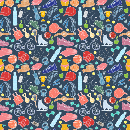 Vector illustration Sport and fitness seamless doodle pattern Vector