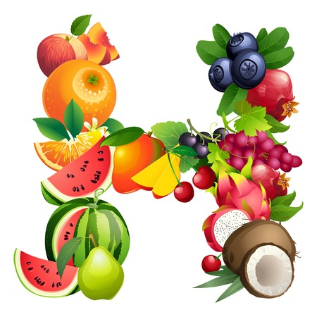 pommegranate: Vector illustration Letter H composed of different fruits with leaves Illustration
