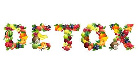jugo verde: Ilustraci�n vectorial Palabra DETOX compone de diferentes frutas con hojas