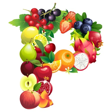 Vector illustration Letter P composed of different fruits with leaves Vector