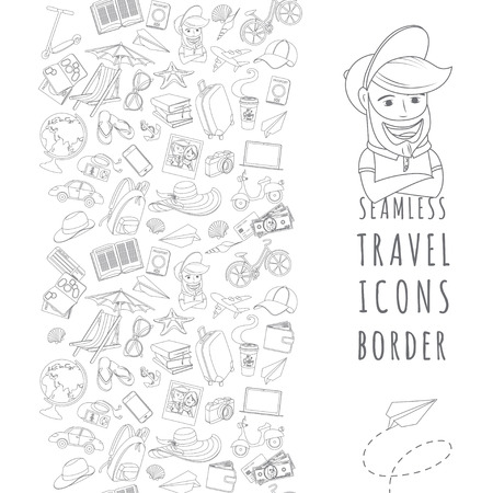 Vector illustration Doodle icons seamless travel frame Vector