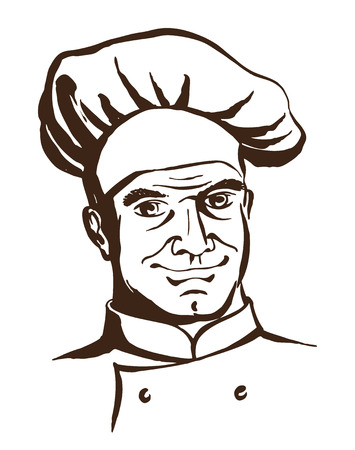 Vector illustration Handsome chef wearing hat and uniform. Hand drawing logo Illustration