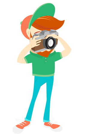 funny bearded man: Vector illustration Hipster funny bearded man with camera. Flat style