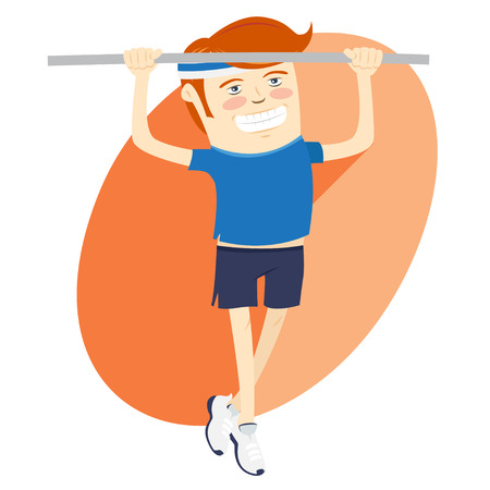 strong chin: Vector illustration Hipster funny man pulling up on horizontal bar. Flat style
