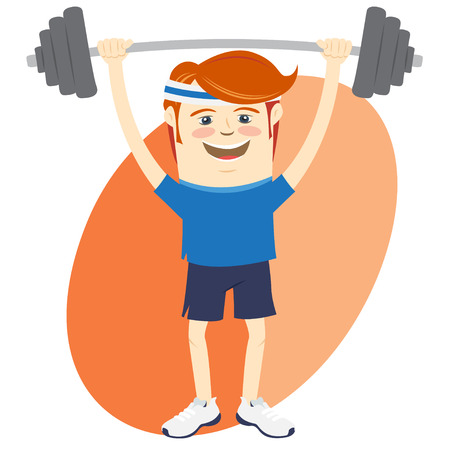 hand with dumbbell: Vector illustration Hipster funny man lifting barbell. Flat style