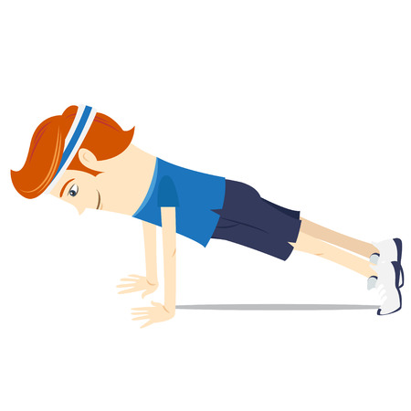 doing: Vector illustration Hipster funny doing push-ups. Flat style Illustration