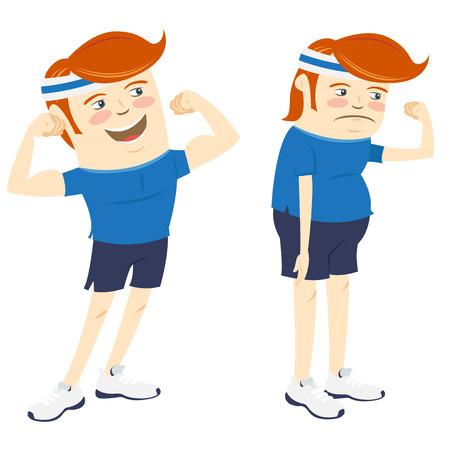 hombre fuerte: Ilustración vectorial Hipster hombres divertidos que muestran bíceps. Estilo Flat Vectores