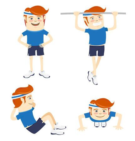 sportsmen: Vector illustration Set of Hipster funny sportsmen doing exercises. Flat style