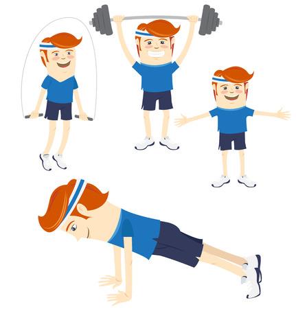 Ilustración vectorial Conjunto de Hipster deportistas divertidos haciendo ejercicios. Estilo Flat