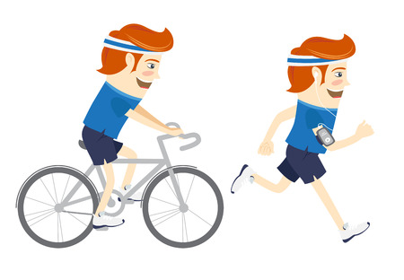 Vector illustration Set of Hipster funny sportsmen cycling and running. Flat style Vettoriali