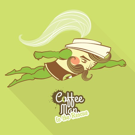 superman: Vector Illustration Coffee man character flying to the rescue