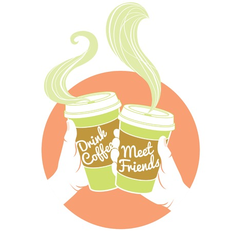 meet: Vector Illustration Hands holding dispossable coffee cups. Cardboard cover with text Drink coffee! Meet friends!