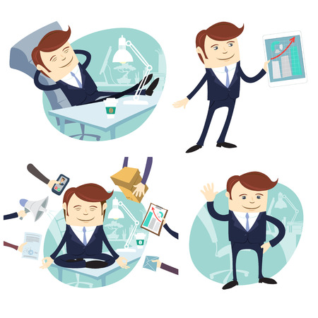 Vector Illustration Set of officeman: lazy worker foot on desk, salesman with device, busy multitasking man, waving office white collar