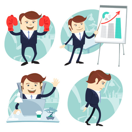 Vector Illustration Office man set: showing a presentation, Happy worker at his desk, busy white collar walking sad , superman with gloves Illustration