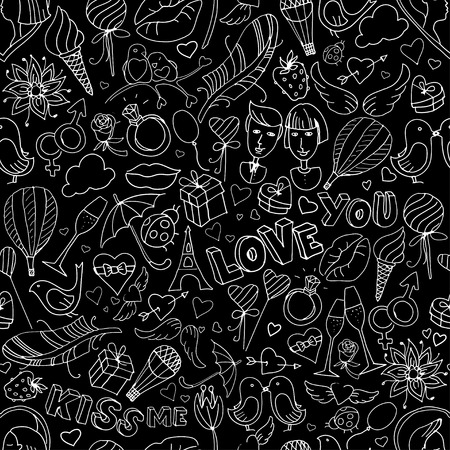 Vector illustration Valentine Day pattern. Sketch style. Black and white Vector