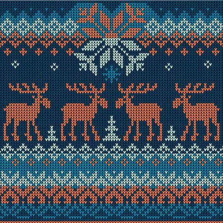 Vector illustratie Scandinavische vlakke stijl gebreide patroon met herten en elanden