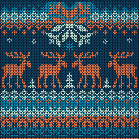 Vector illustration Scandinavian flat style  knitted pattern with deers and elks
