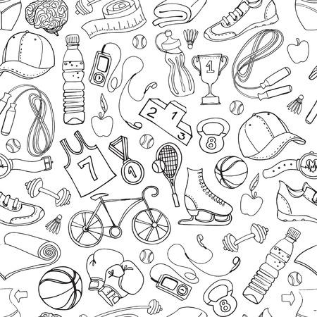 Vector illustratie Zwart-wit Sport en fitness naadloze doodle patroon