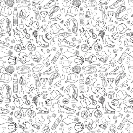 Vector illustration Black and white Sport and fitness seamless doodle pattern
