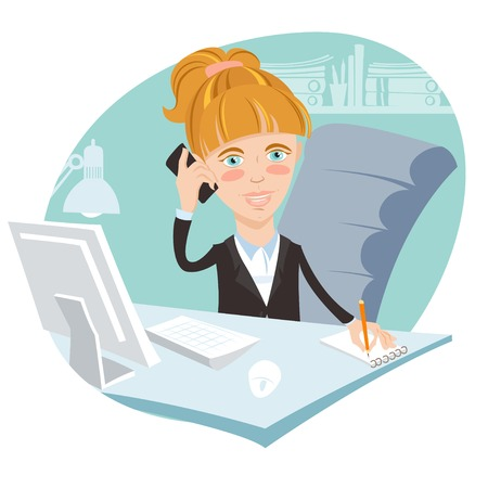writing chair: Vector illustration Illustration of Office woman sitting at his working desk with phone
