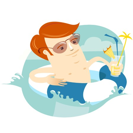 rubber ring: Vector illustration Hipster man swimming in the rubber ring with cocktail. Flat style