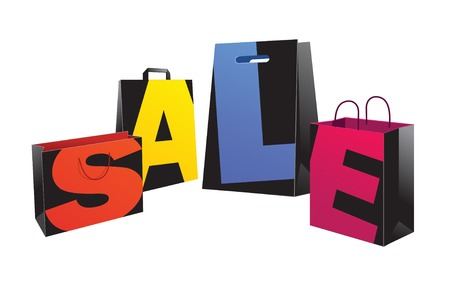 paper bags: Vector illustration Sale black paper bags with color letters