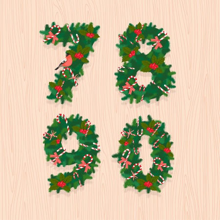7 8: Vector illustration Christmas festive wreath numbers 7, 8, 9, 0. Wooden background