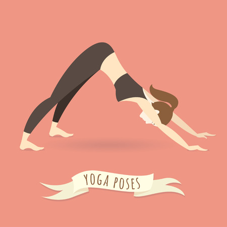 facing: Vector illustration Young woman practicing downward facing dog pose. Flat style. Illustration