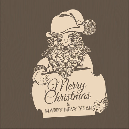 dwarf christmas: Vector illustration Hand drawn doodle Christmas dwarf holding festive signboard