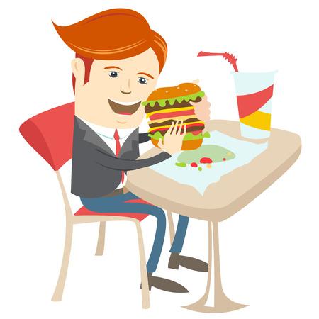 big break: Vector illustration Hipster office man eating sandwich at cafe. Flat style