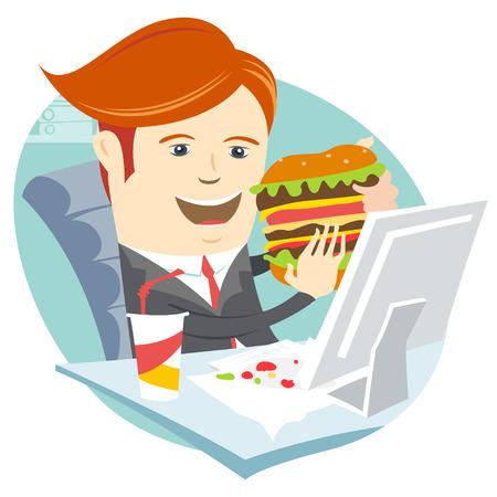 comida chatarra: Ilustración vectorial Hipster hombre oficina comer sándwich en su lugar de trabajo. Estilo Flat