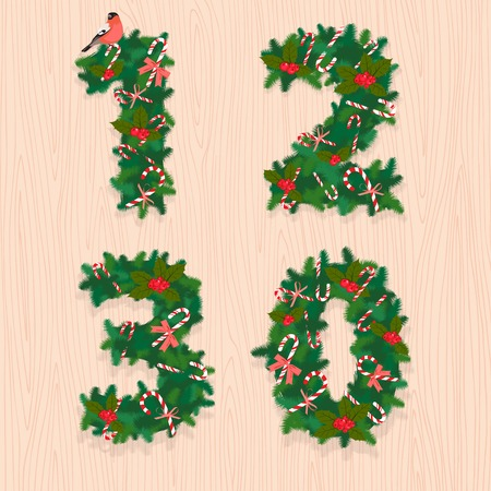 0 1 years: Vector illustration Christmas festive wreath numbers1, 2, 3, 0. Wooden background Illustration