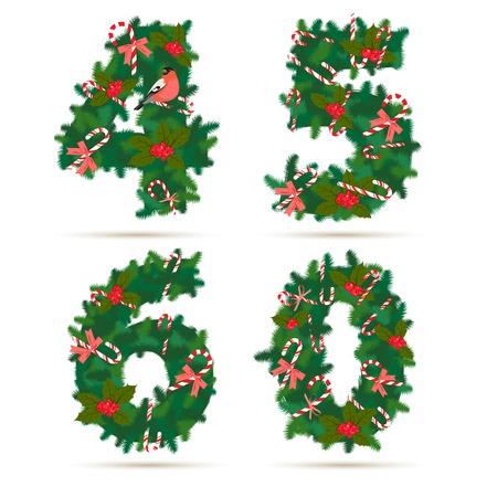 Vector illustration Christmas festive wreath numbers 4, 5, 6, 0. Vector