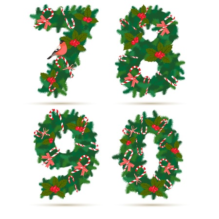 8 9: Vector illustration Christmas festive wreath numbers 7, 8, 9, 0. Wooden background
