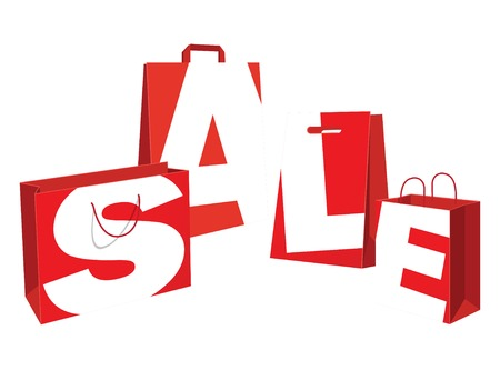 Vector illustration Sale red paper bags. Flat style Vector