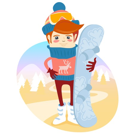 slopes: Vector illustration Hipster snowboarder in fron of slopes with his board. Flat style Illustration
