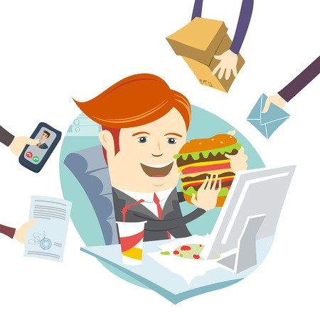 multitask: Vector illustration Hipster office man eating sandwich at his workplace. Flat style