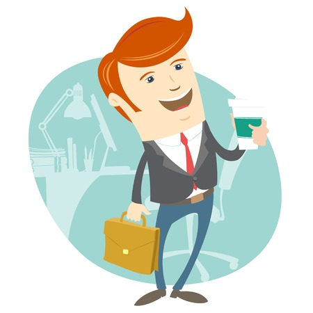 brief: Vector illustration Hipster office man holding coffee and brief case in front of his workplace. Flat style