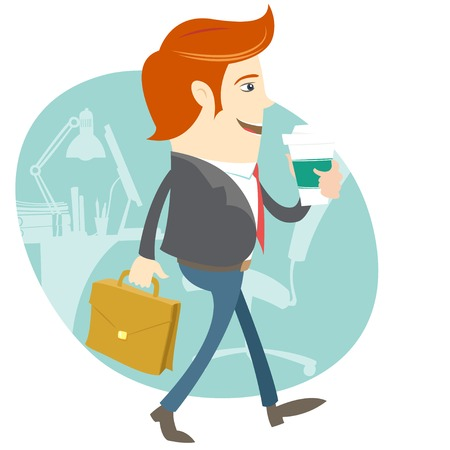 brief case: Vector illustration Hipster office man walking and holding coffee and brief case in front of his workplace. Flat style