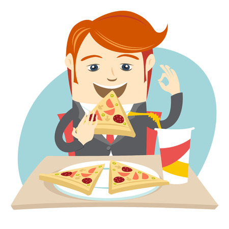 lunchroom: Vector illustration Hipster office man eating pizza at cafe. Flat style Illustration