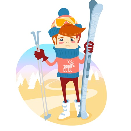 slopes: Vector illustration Hipster skier in front of slopes with his ski and ski pole. Flat style