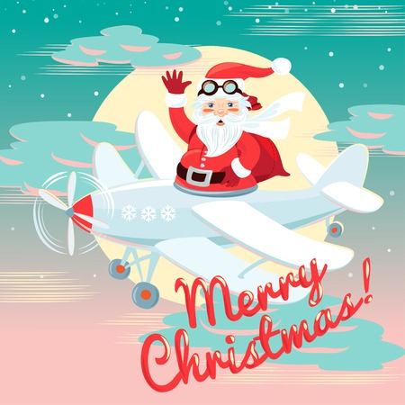 Vector illustration Waving Santa Claus flying on the plane with sack full of presetns. Flat style Vector