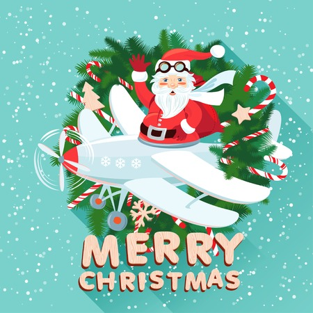 Vector illustration Waving Santa Claus on the plane iside the Christmas wreath with sack full of presetns. Flat style Vector