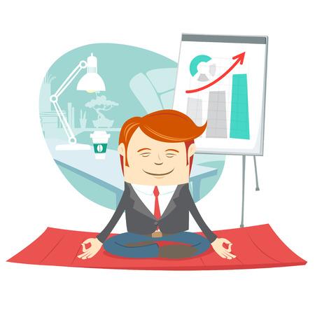 Vector illustratie Office hipster man doen yoga pose lotus (mediteren) in de buurt van zijn werkplek Stock Illustratie