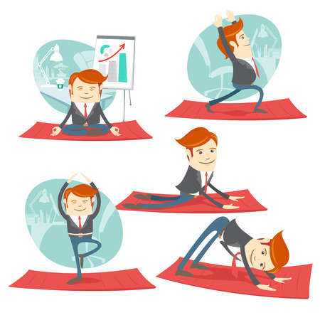 Vector illustration Hipster office man practicing warrior, downward and upward facing dog poses. Flat style.