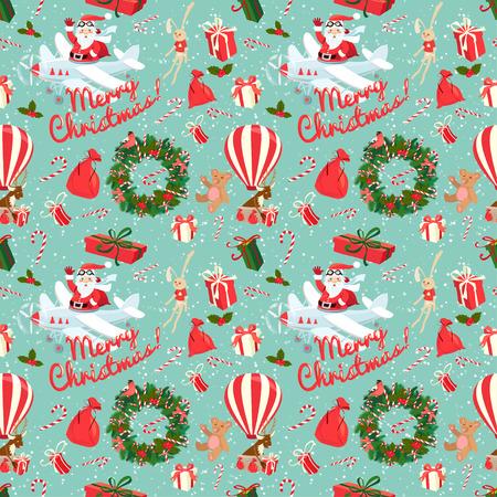osos navideños: Ilustración vectorial festiva de Navidad y Año Nuevo sin patrón en el estilo plano de la vendimia.