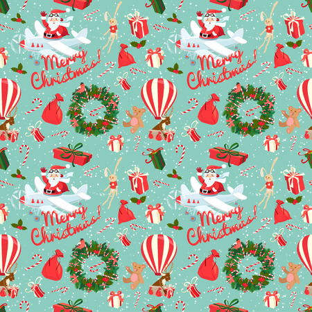 christmas santa: Vector illustration Festive Christmas and New Year seamless pattern in vintage flat style. Illustration